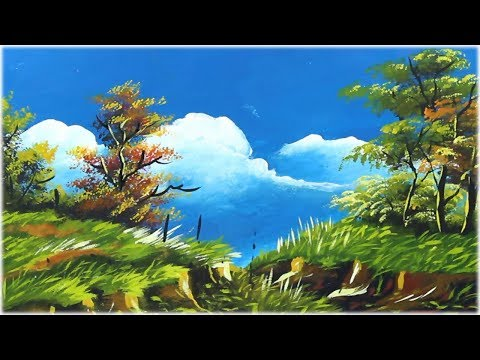 Simple Landscape Painting   Nature Scenery   Acrylic Painting for Beginners