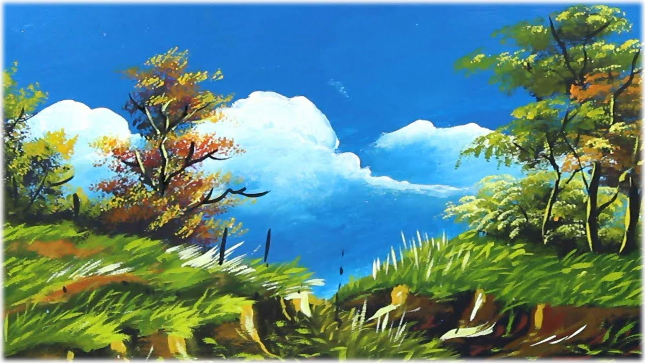 Simple Landscape Painting Nature Scenery Acrylic Painting For Beginners Youtube