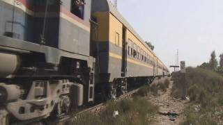 Egyptian Railways GM locos on passenger trains in March 2010