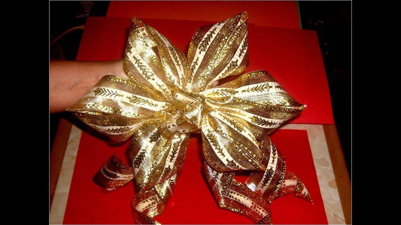 Mo o flor seis p talos para decoraci n navide a youtube - Lazos arbol navidad ...