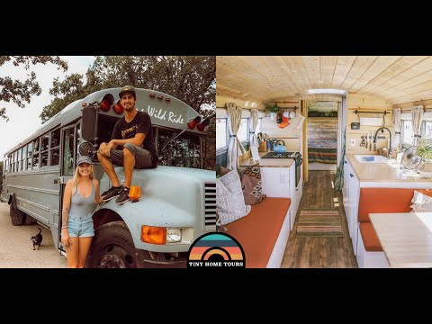 Couple Builds Gorgeous Skoolie Tiny House - Full Detailed Tour