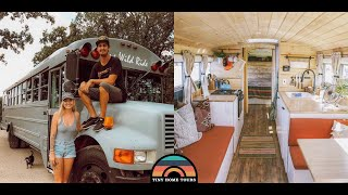 Couple Builds A Gorgeous School Bus Tiny House - Full Detailed Tour