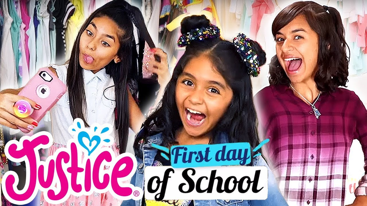 [VIDEO] - FIRST DAY OF SCHOOL OUTFITS WITH GEM SISTERS ? JUSTICE 2