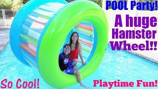 Fun Summer Swimming Pool Playtime! A Big Hamster Wheel in the Swimming Pool! Toy Channel