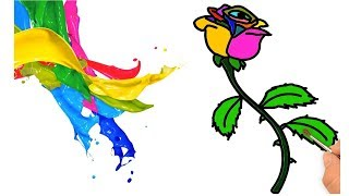 How To Draw Rainbow Rose Color Learn for Kids Step by Step Easily    Little Channel    Rose Rainbow