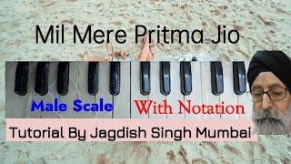 Learn MIL MERE PRITMA JIO --- Notation's & Tutorial on Male Scale---Taal Kehrewa 8 Matra