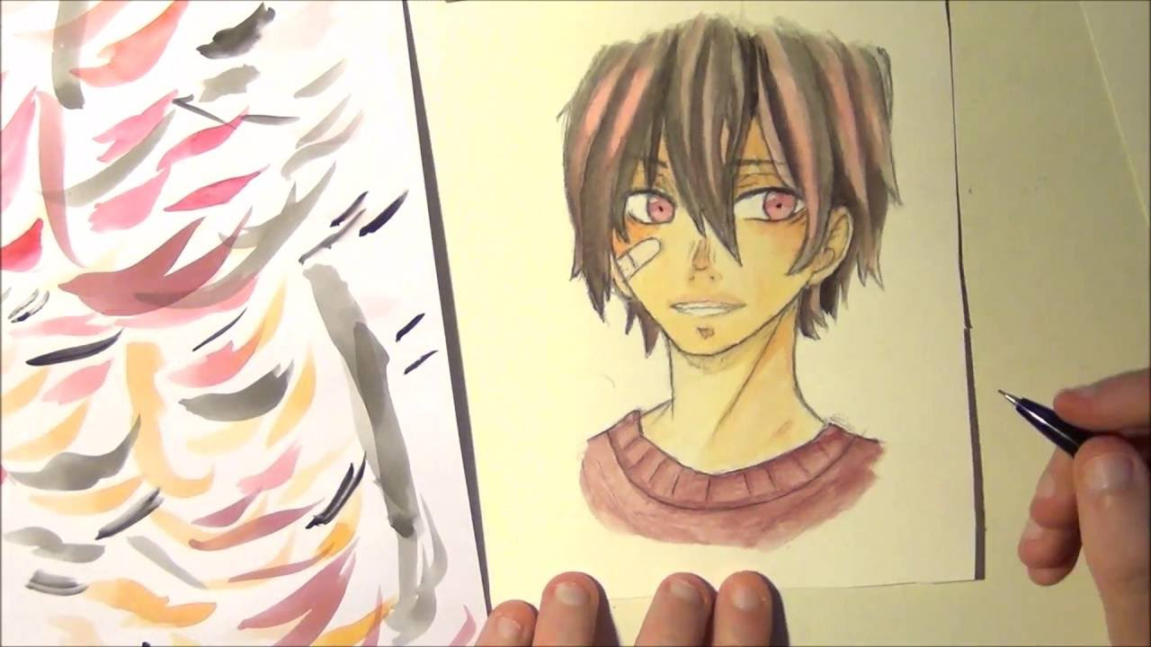 Black Hair With Red Highlights Anime Boy Speedpaint Youtube