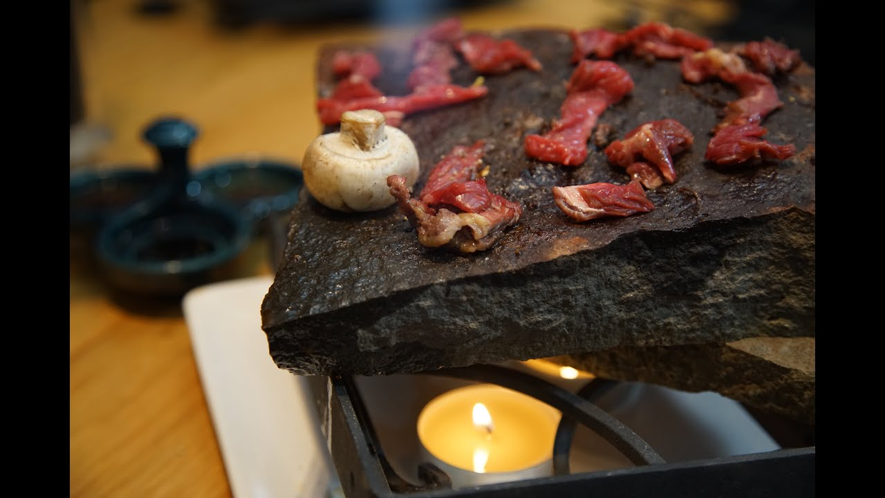 Ishiyaki Beef Grilling On Icelandic Stone With Dipping
