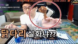 [만만]  보드람치킨 양념반+후라이드반 먹방 근데 닭다…