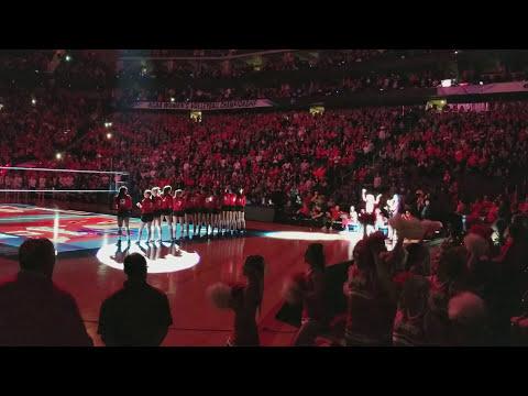 Nebraska Volleyball Final Four KC Lineup Light Show