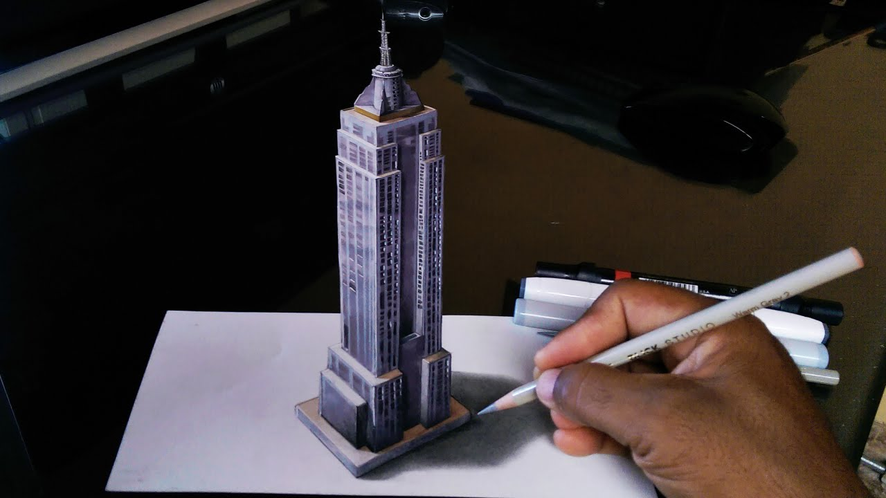 How To Draw Empire State 3d Building Youtube