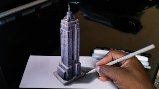How to Draw Empire State 3D Building
