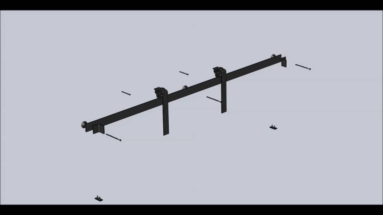 Montaggio del Kit Binario per Porte Scorrevoli Esterno Muro in Ferro ...