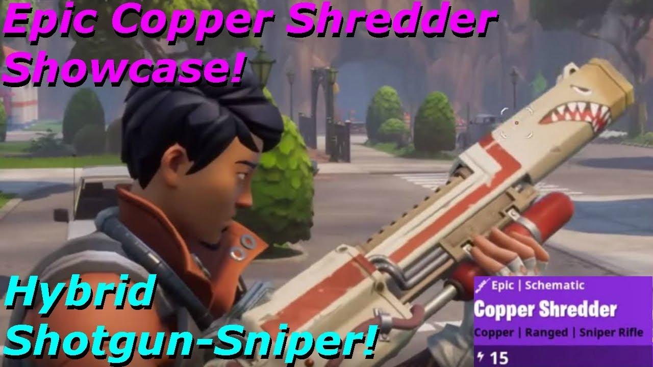 fortnite weapon review epic copper shredder showcase hybrid shotgun sniper - fortnite shredder