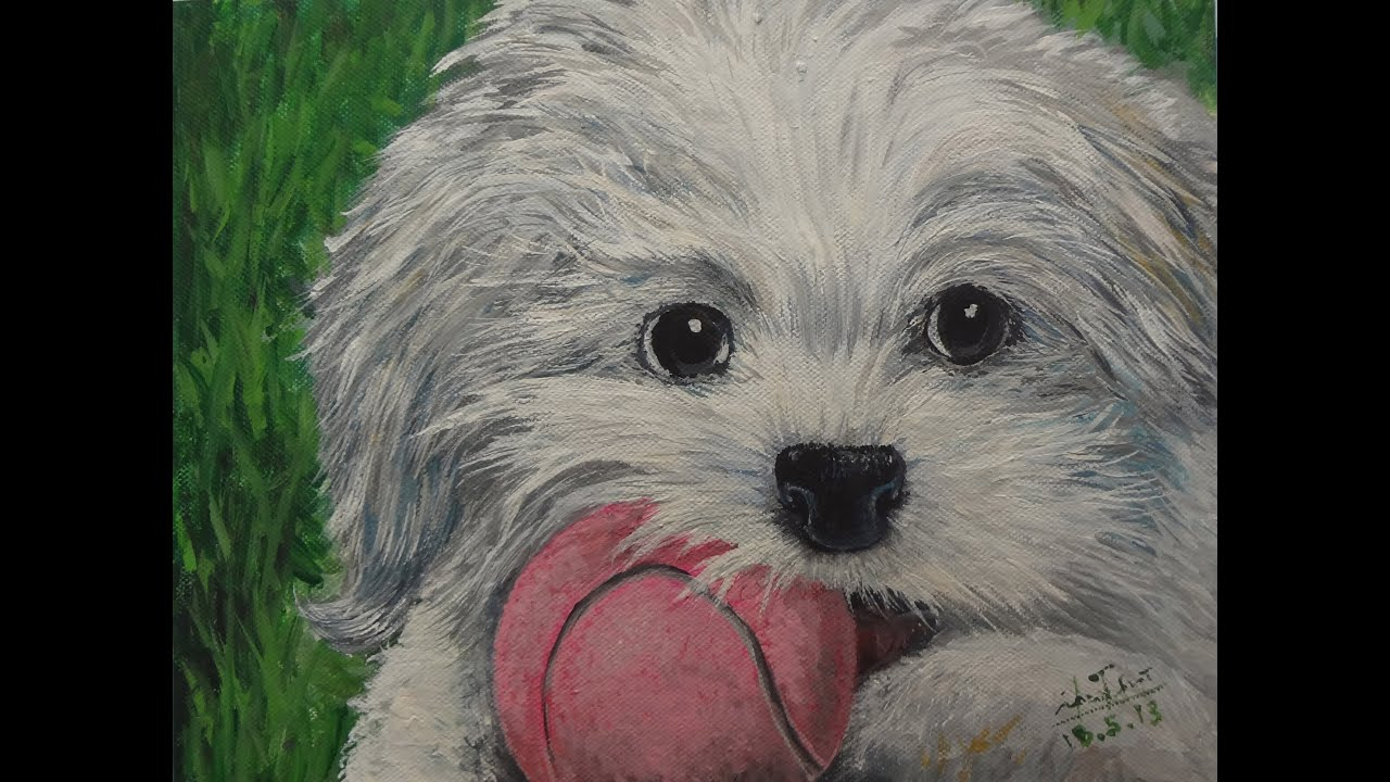 How to draw pet dog realism with acrylic youtube for Painting of your dog