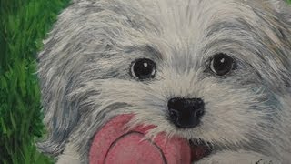 How to Draw Pet Dog Realism with Acrylic 葉浪點畫