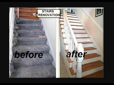 Diy Stairs Renovation 50 Budget Make Over One Woman One | Redoing Carpeted Stairs To Wood | Hardwood Floors | Stair Tread | Stair Risers | Stair Case | Staircase Remodel