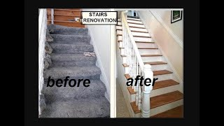 Diy Stairs Renovation,  With Spindles- Remove Carpet, Woodfill Wood, Crackfill Risers