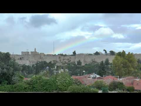rainbow over the old city of Jerusalem