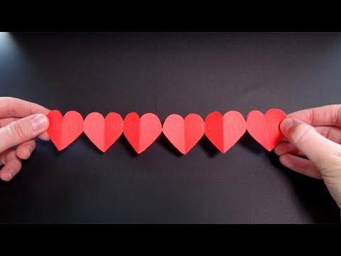 Herz basteln mit Papier ❤ Eine Kette mit Herzen als Geschenk selber machen ❤ Bastelideen