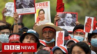 Huge crowds defy army warning in Myanmar strike - BBC News