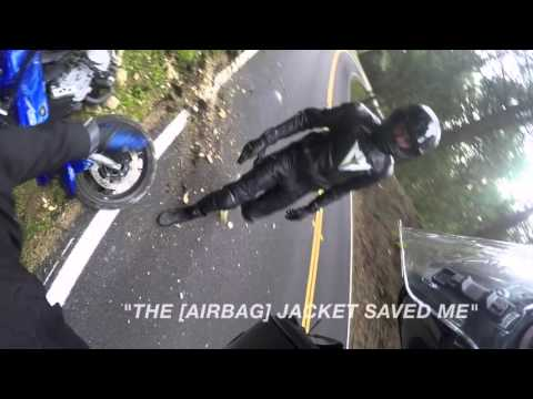 Motorcycle Crash with a Rider wearing Helite Airbag Protection
