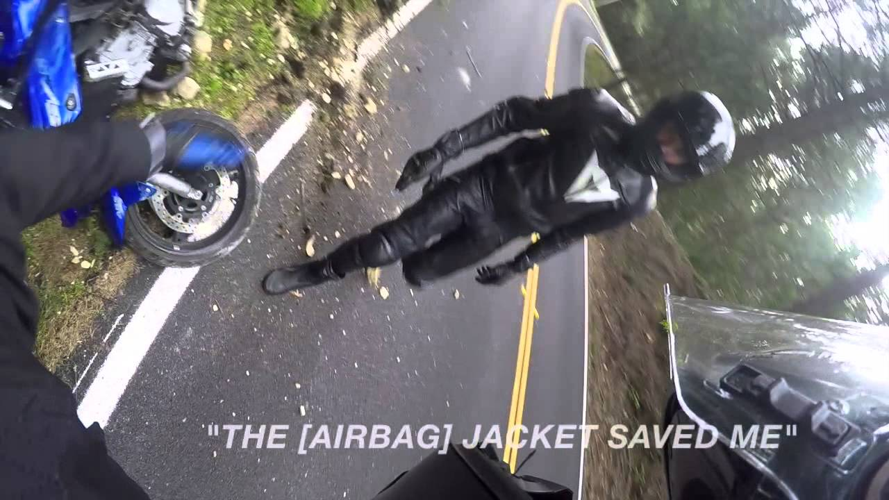 Motorcycle Crash With A Rider Wearing Helite Airbag
