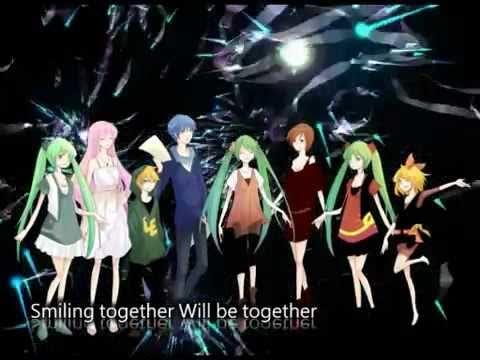 """[Luka Rin Miku Len Meiko Gackpo Kaito Miki Gumi Kiyoteru Mizki Lily Yuki] """"smiling"""" English & Romaji"""
