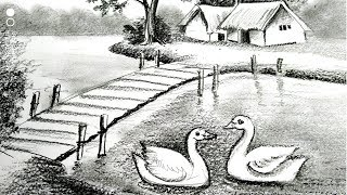 pencil shading scenery drawing easy landscape village drawings sketching drawingsketch101