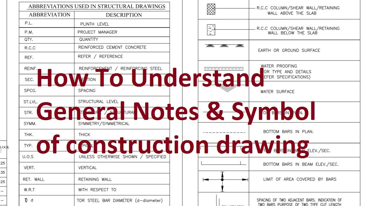 how to understand general notes or symbol of consruction drawing