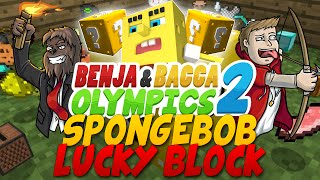 Cinnamon Challenge Benja & Bacca Olympics 2: Lucky Blocks VS SpongeBob - Game 3! (Minecraft)
