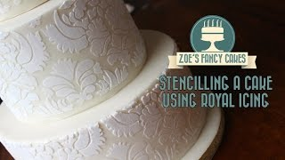 One of Zoes Fancy Cakes's most viewed videos: How to stencil on a cake using royal icing stencilling on a cake stenciling cake decorating tutorial
