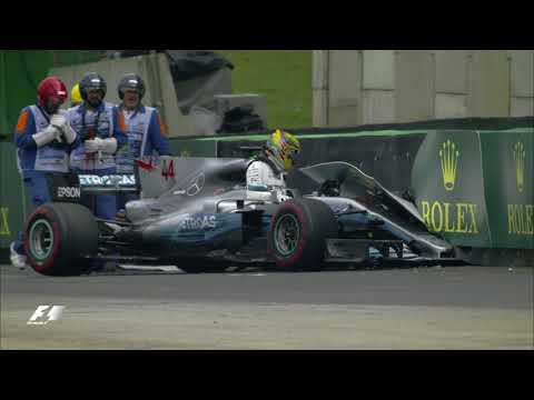 Hamilton Crashes Out of Qualifying | 2017 Brazil Grand Prix