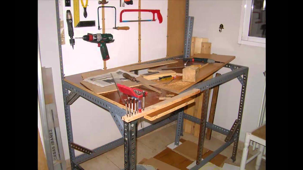 Como hacer un banco de trabajo con perfiles de estanteria for Como hacer mesa de trabajo con palets