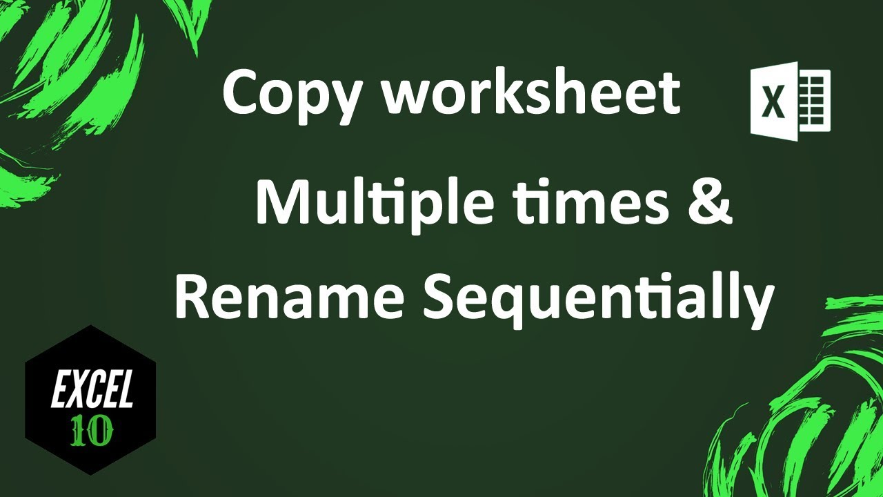 How To Copy Sheet And Rename Automatically In Excel Youtube