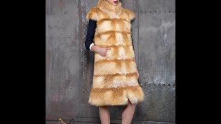 Длинные жилеты из натурального меха лисы и кролика(Интернет-магазин женской меховой одежды