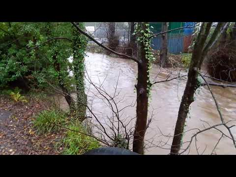 Video from the South bank of the R. Douglas, IOM -  looking West of Railway Bridge