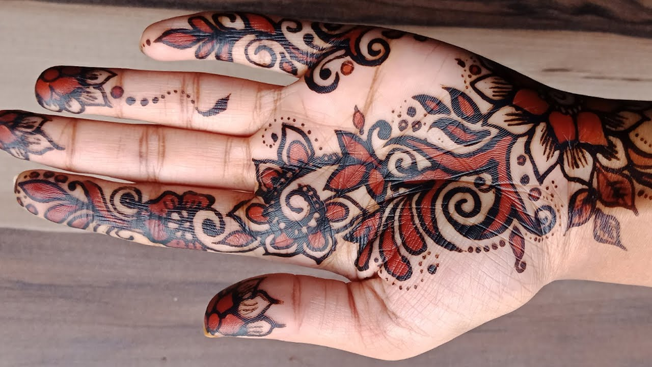 Black Henna Designs: Red And Black Shaded Henna Design 2018