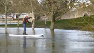 Paddle boarding in the flooding on River Thames at Abingdon, Feb 2014