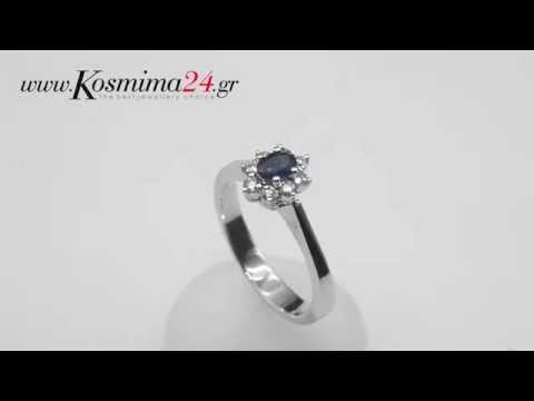 Δαχτυλιδια γυναικεια με ζαφείρι Κ18 020446