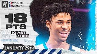 Ja Morant 18 Pts 10 Ast Full Highlights | Grizzlies vs Knicks | January 29, 2020