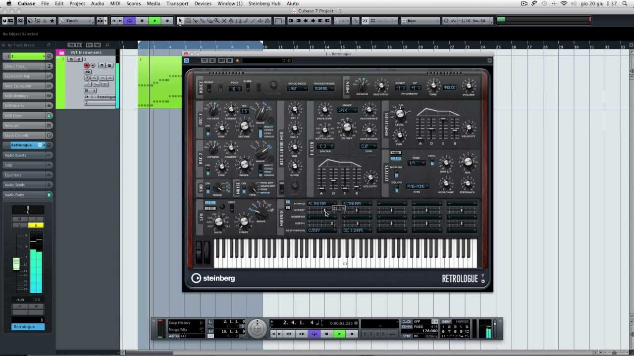 cubase 7 how to create pluck synth using retrologue youtube