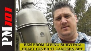 Heavy Cover Titanium Canteen Kit w/ Living Survival  - Preparedmind101