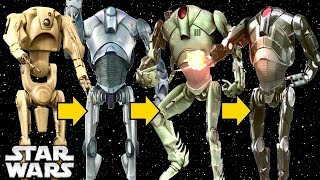 the evolution of super battle droids during the clone wars by the separatists