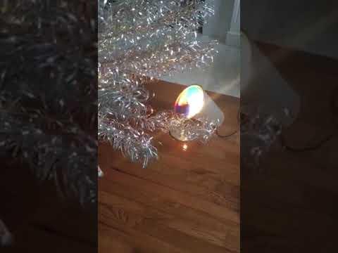 7 foot tall Tomar Arctic Diamond stainless metal Christmas tree with color wheel