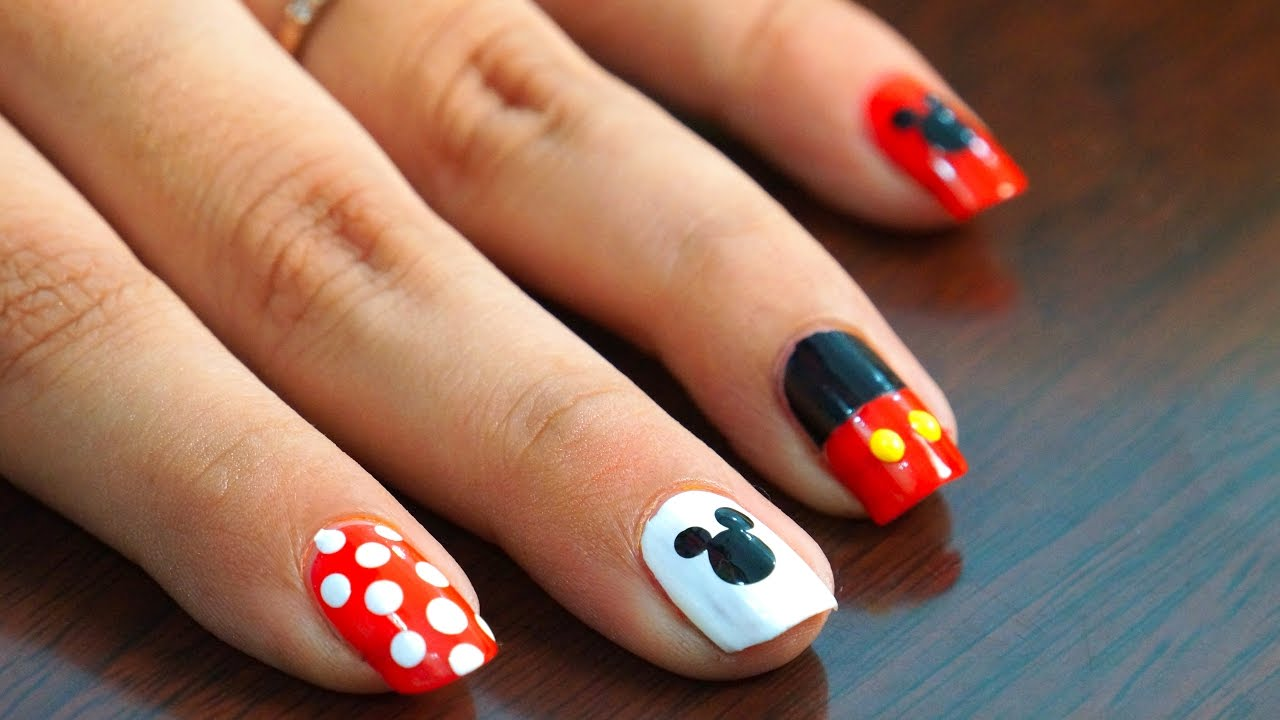 Nail Art at Home - Easy & Cool Mickey Mouse design in steps - Nail Art At Home - Easy & Cool Mickey Mouse Design In Steps - YouTube