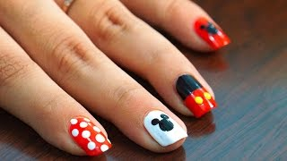 Nail Art at Home - Easy & Cool Mickey Mouse design in steps