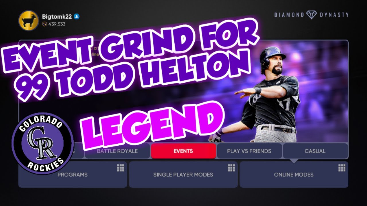 *LIVE* EVENT GRIND FOR 99 TODD HELTON IN MLB THE SHOW 21 DIAMOND DYNASTY COLORADO ROCKES LEGEND!