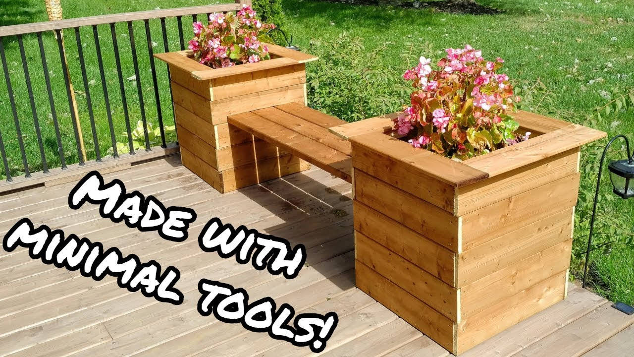 Simple Planter Bench Diy Youtube