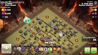 TH10 war attack with witches, th10 witch slap on th10 war base.